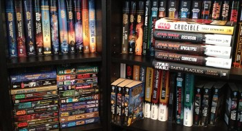 A fraction of my own Star Wars book collection. I Have Opinions about many of these, but I will spare you.